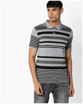 dacd4ecba Netplay By Reliance Trends Men Regular Fit Polo Neck Striped T-Shirt - Grey