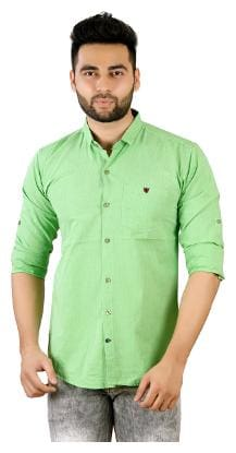 Studio Nexx Men's Green Cotton Solid Shirt
