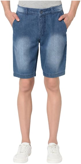 Men Solid Denim Shorts