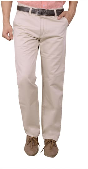 Studio Nexx Beige Cotton Regular Fit Casual Trouser