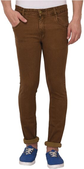 Studio Nexx Men's Regular Fit Stretch Jeans (Brown)