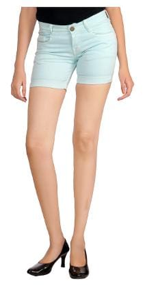Studio Nexx Women's Peach Green Cotton Chinos Shorts