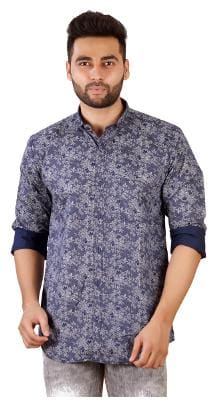 Studio Nexx Men's Dark Blue Cotton Printed Shirt