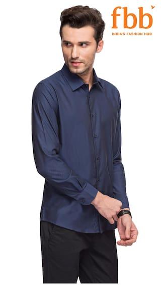 Slim Fit Studio Blue Textured Shirt NYX Formal QJDXKTr