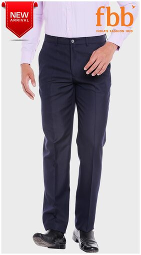 Studio NYX Solid Tapered Fit Mens Black Formal Trousers