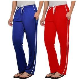 Stylcozy Women Cotton Solid Pyjama - Blue & Red