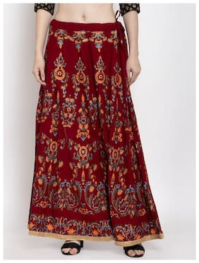 Style Access Floral Flared skirt Maxi Skirt - Maroon