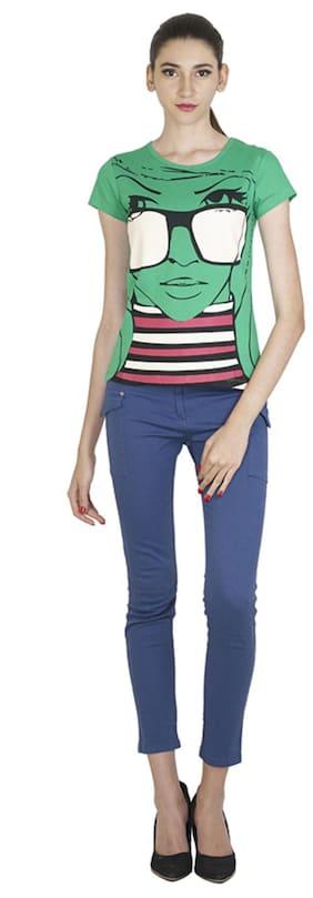 Style Quotient by noi Women Green Regular fit Round neck Cotton T shirt