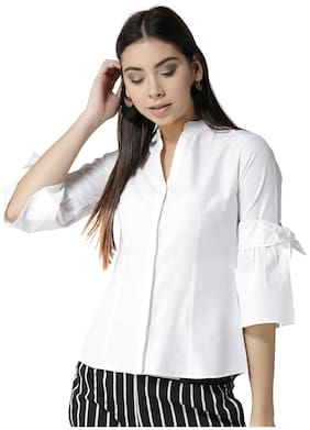 Style Quotient Women White Solid Regular Fit Shirt