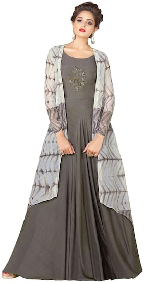 Stylee Lifestyle Grey Rayon Embroidered Gown