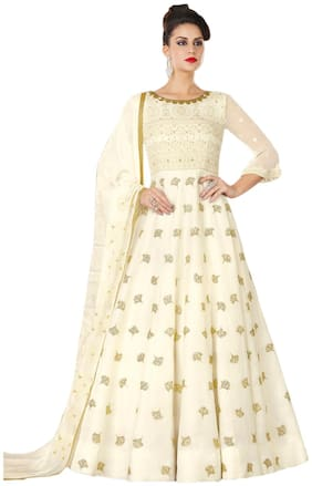 Stylee Lifestyle Cream Satin Embroidered Dress Material