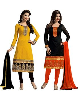 styleelite black and yellow embrodered combo dress material