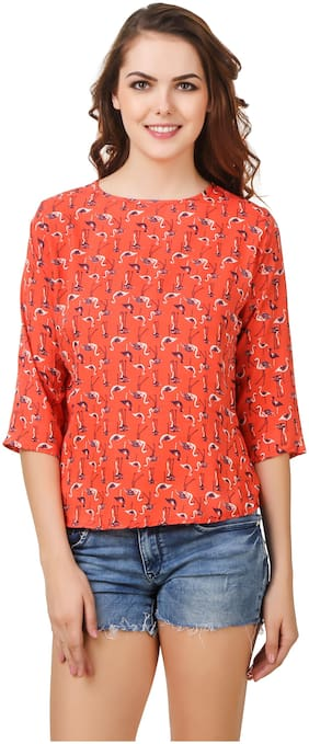 STYLESBERRY Women Crepe Embroidered - Regular Top Orange