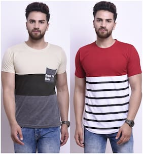 Men Round Neck Colorblocked;Striped T-Shirt ,Pack Of Pack Of 2