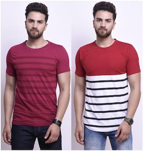 63a4bf459d8 STYLESMYTH Men Regular Fit Round Neck Printed T-Shirt - Maroon