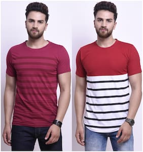Men Round Neck Striped T-Shirt ,Pack Of Pack Of 2
