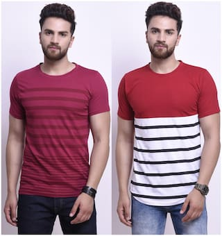 STYLESMYTH Men Maroon Regular fit Cotton Round neck T-Shirt - Pack Of 2