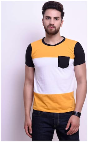 Men Round Neck Colorblocked T-Shirt ,Pack Of Pack Of 1