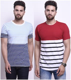 STYLESMYTH Men Regular fit Round neck Striped T-Shirt - Multi