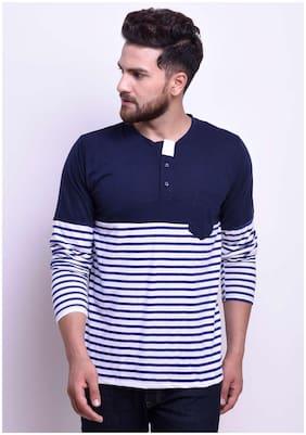 STYLESMYTH Men Regular fit High neck Printed T-Shirt - Navy blue