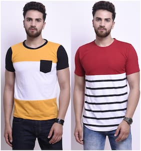 Men Round Neck Colorblocked;Striped T-Shirt