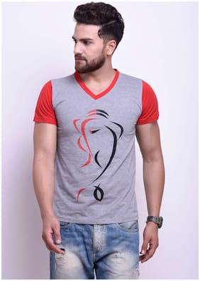 Men V Neck Printed T-Shirt