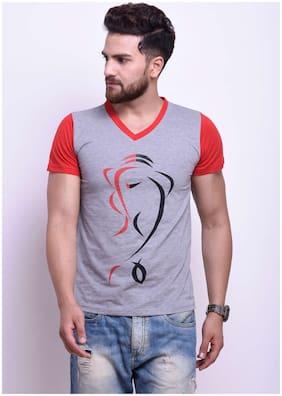 Men V Neck Printed T-Shirt ,Pack Of Pack Of 1