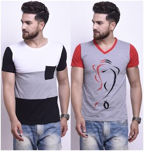 Men Round Neck Colorblocked;Printed T-Shirt ,Pack Of Pack Of 2