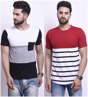 Men Round Neck Colorblocked;Printed T-Shirt Pack Of 2