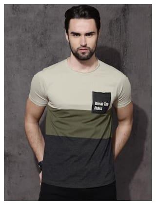 STYLESMYTH Men Beige Regular fit Cotton Round Neck T-Shirt