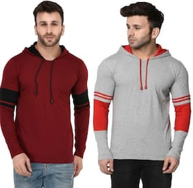 Men Hood Solid T-Shirt ,Pack Of Pack Of 2