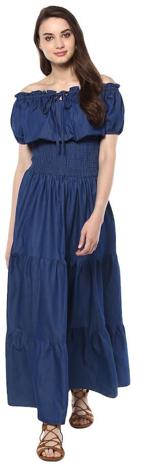 Maxi Styled Denim Women's StyleStone Dress Peasant FgCznw