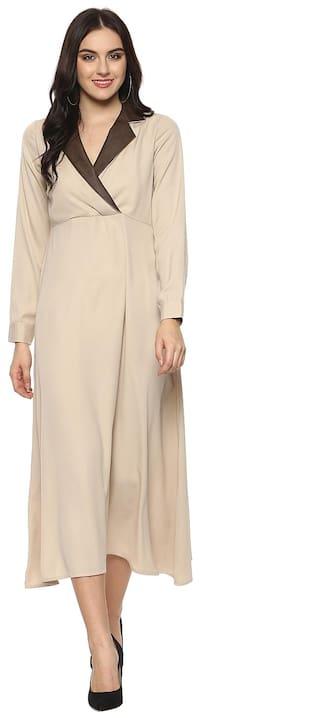 StyleStone Women's Beige Leather Lapel Maxi Dress