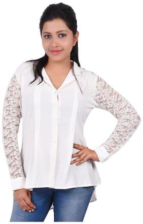 RIVI Women White Solid Regular Fit Shirt