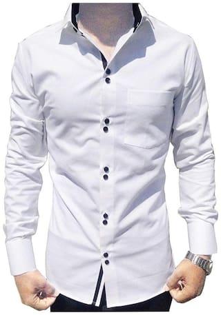 SUR-T Men White Solid Slim Fit Casual Shirt