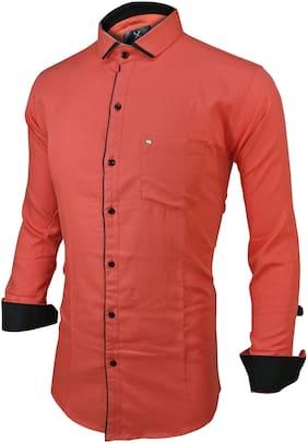 SUR-T Men Pink Solid Regular Fit Casual Shirt