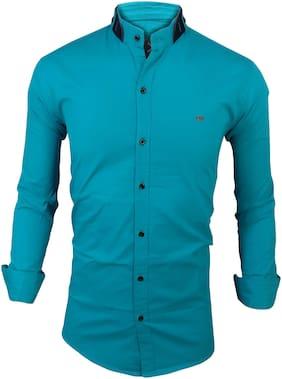 SUR-T Men Blue Solid Slim Fit Casual Shirt