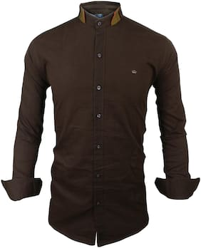 SUR-T Men Brown Solid Slim Fit Casual Shirt