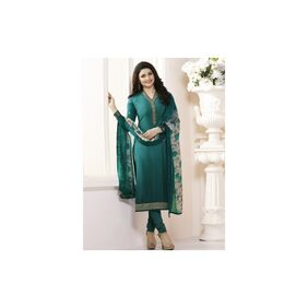 Stylish Fashion Prachi Desai Turquoise Embroidered Straight Salwar Suit