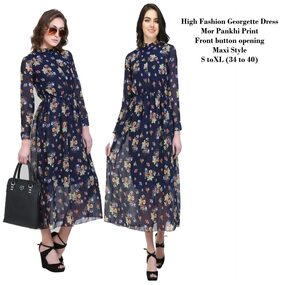 Stylish Floral Printed Front button Long Maxi Dress Multi Color