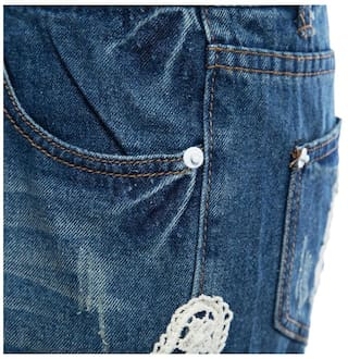 Stylish High Women Straight Sheath Patchwork Lacework Denim Hole Waist Hot Pants for 66wpdRqr
