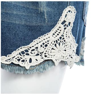 Hot Straight Sheath for High Patchwork Lacework Women Pants Stylish Waist Hole Denim 8S6UZCx