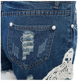 Stylish Pants Hot Patchwork Lacework High for Sheath Hole Straight Women Denim Waist 4UwAqr4