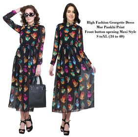 Stylish Peacock Feather Printed Front button Long Maxi Dress Multi Color