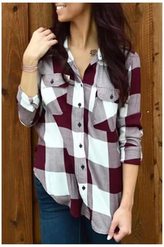 Stylish Shirt Collar Long Sleeve Plaid Side Slit Women\'s Shirt