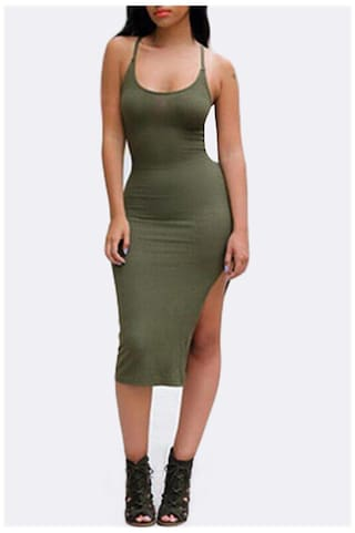 Cross Criss Spaghetti For Side Color Women Strap Solid Stylish Bodycon Back Dress Slit X4HwYpq
