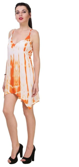 Tie Dye Orange Stylish Bold White neck Dress V qUnOZHBw