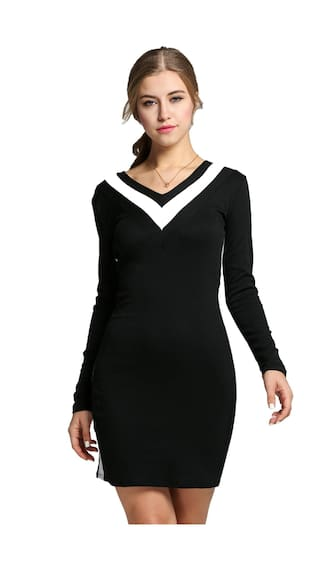 Pencil Bodycon Splicing Dress OL Slim V Casual Neck Women Style Long Stylish Sleeve pS8qPwx
