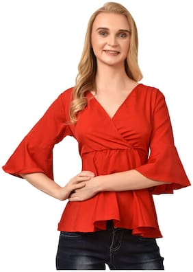 Styllry Women Crepe Solid Red  Top