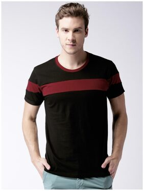 Stylogue Men Regular Fit Round Neck Solid T-Shirt - Black